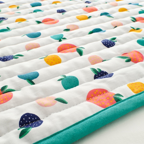 RÖRANDE 뢰란데 퀼트 담요, 과일/도트 패턴/블루, 96x96 cm