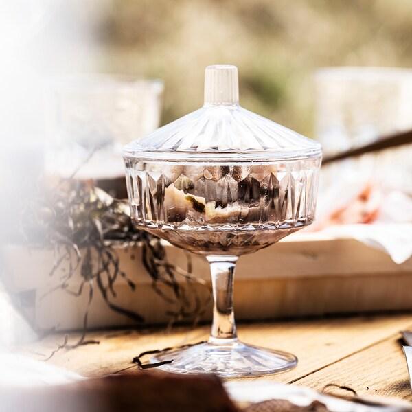 SÄLLSKAPLIG 셀스카플리그 그릇+뚜껑, 유리/패턴, 10 cm