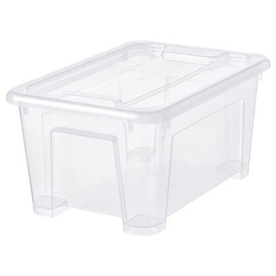 SAMLA 삼라 수납함+뚜껑, 투명, 28x20x14 cm/5 l