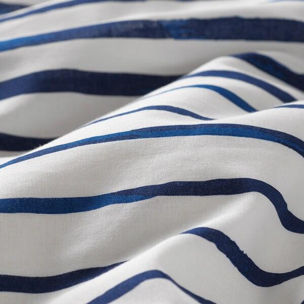 송레르카 이불커버+베개커버 스트라이프/블루 화이트 200 cm 150 cm 50 cm 80 cm