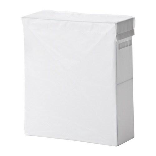 SKUBB 스쿠브 빨래주머니+스탠드 IKEA 폴리에스테르 소재를 사용하여 수분이나 냄새가 배지 않습니다. 2개의 빨래가방은 50cmX58cm의 PAX(팍스) 옷장 프레임에 나란히 넣을 수 있습니다.