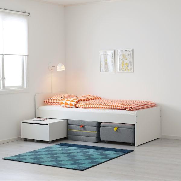 SLÄKT 슬렉트 시트모듈 침대프레임+수납, 화이트/그레이, 90x200 cm