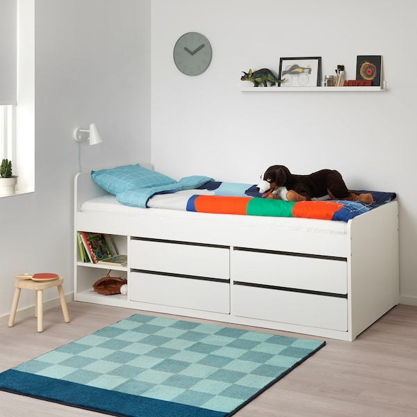 SLÄKT 슬렉트 침대프레임+수납/갈빗살, 화이트, 90x200 cm