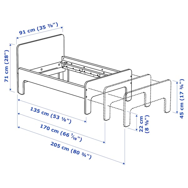 SLÄKT 슬렉트 길이조절침대+갈빗살, 화이트/자작나무, 80x200 cm