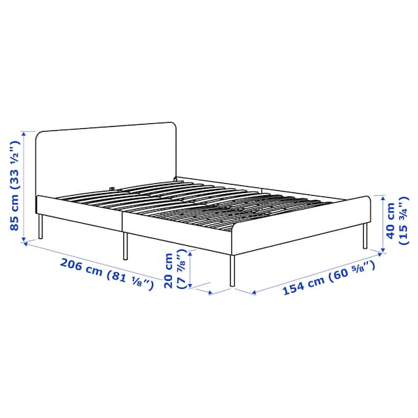 SLATTUM 슬라툼 쿠션형 침대프레임, 크니사 라이트그레이, 150x200 cm