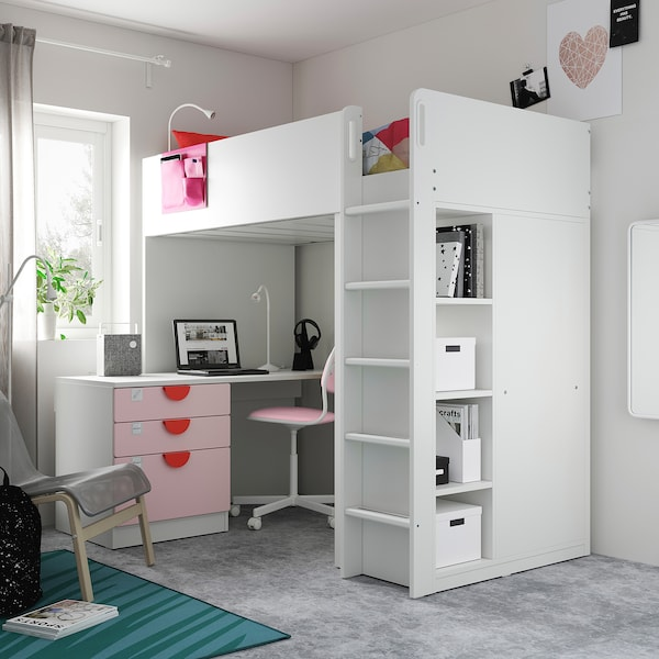 SMÅSTAD 스모스타드 로프트침대, 화이트 페일핑크/+책상 +서랍4, 90x200 cm
