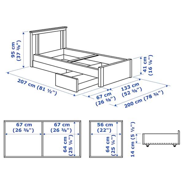 SONGESAND 송에산드 침대프레임+수납상자2, 화이트/뢴세트, 120x200 cm