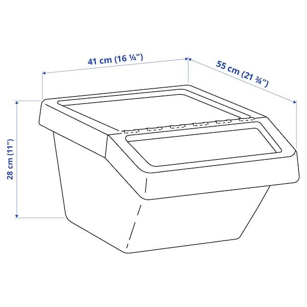 SORTERA 소르테라 분리수거함+뚜껑, 화이트, 37 l