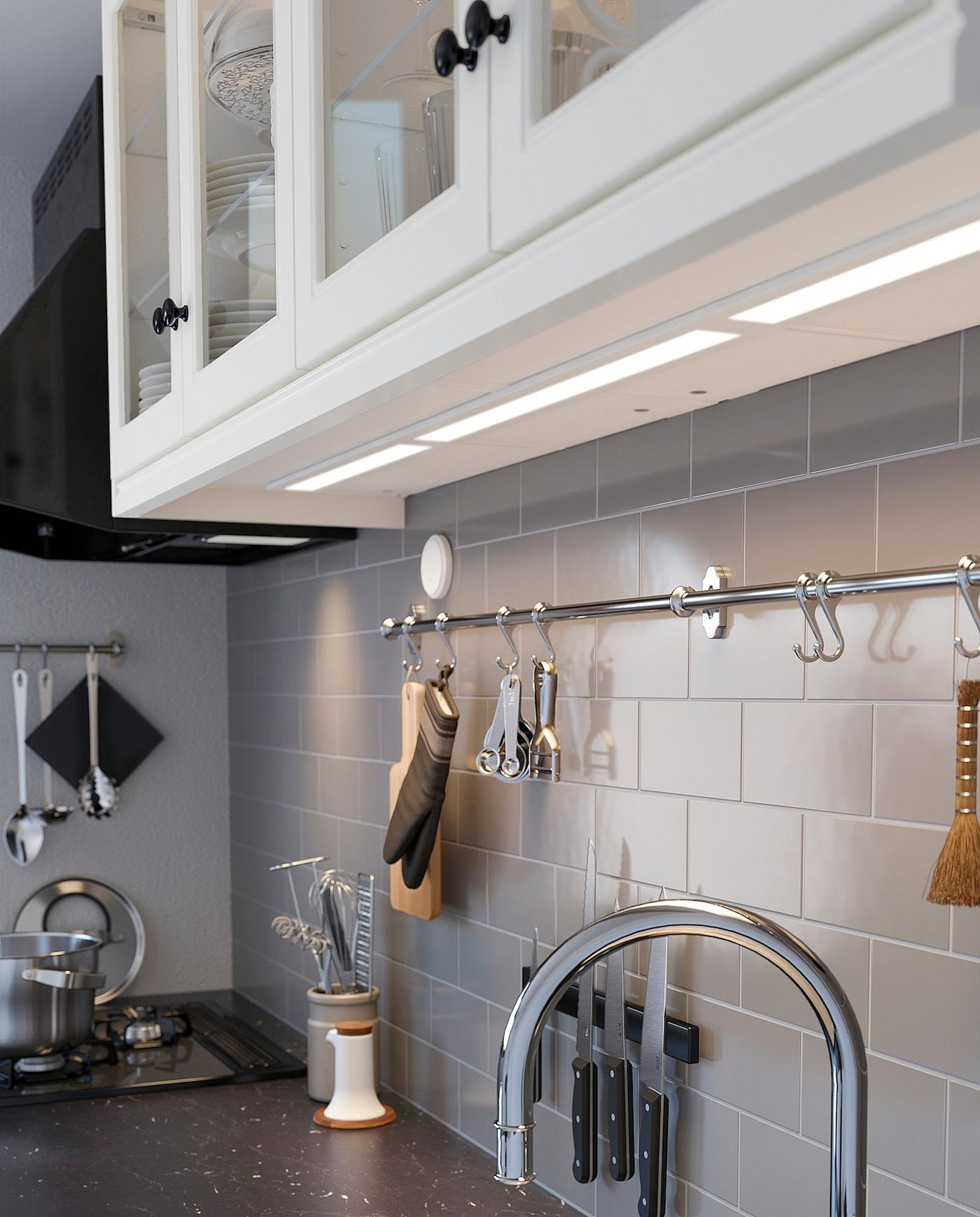 STRÖMLINJE 스트룀리니에 LED조리대 조명, 화이트, 20 cm