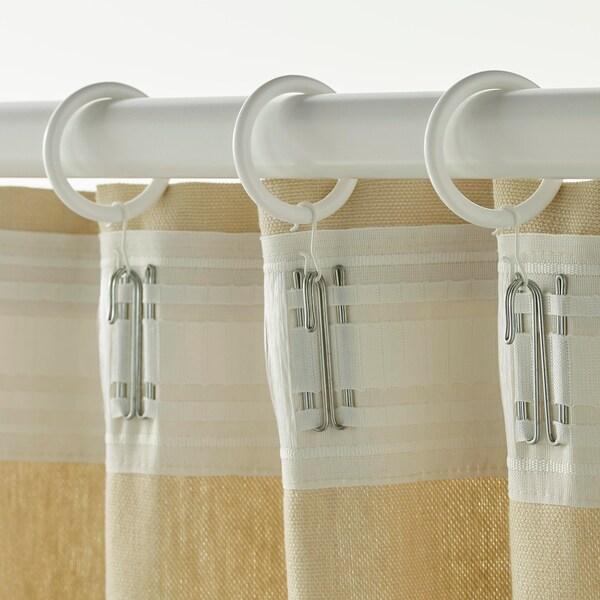SYRLIG 쉴리그 커튼링+클립/고리, 화이트, 38 mm