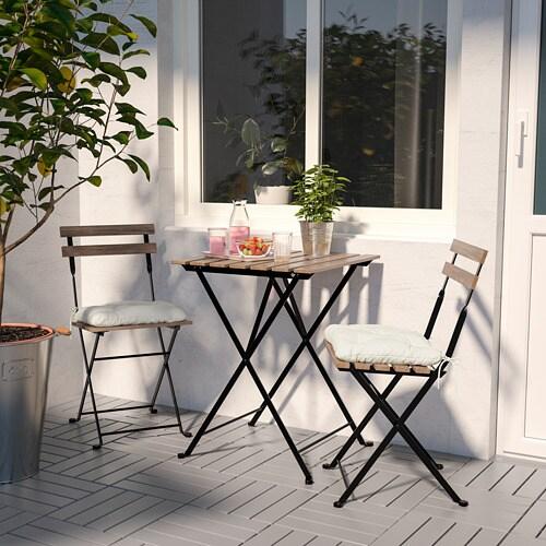 TÄRNÖ 테르뇌 야외테이블+의자2 IKEA 의자와 테이블을 납작하게 접어 보관할 수 있어서 공간을 많이 차지하지 않습니다. 반투명 스테인으로 마감처리하여 내구성을 높이고 나무 고유의 느낌을 살렸습니다.