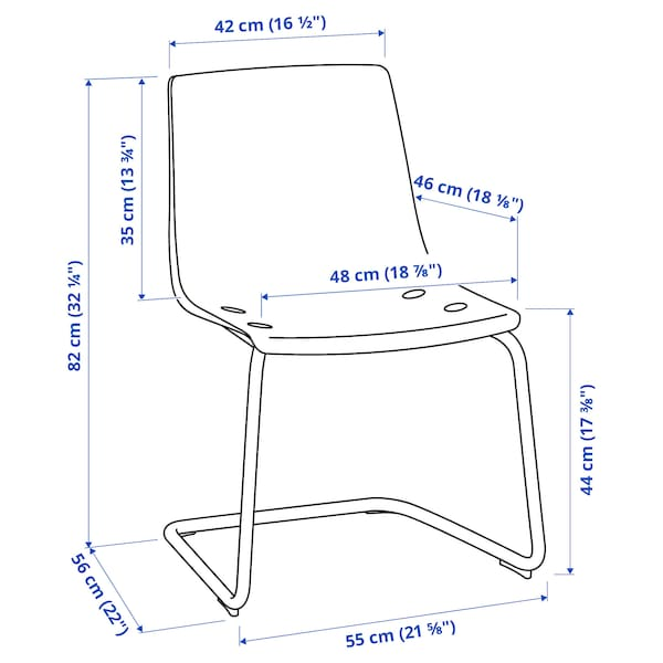 TOBIAS 토비아스 의자, 투명/크롬도금