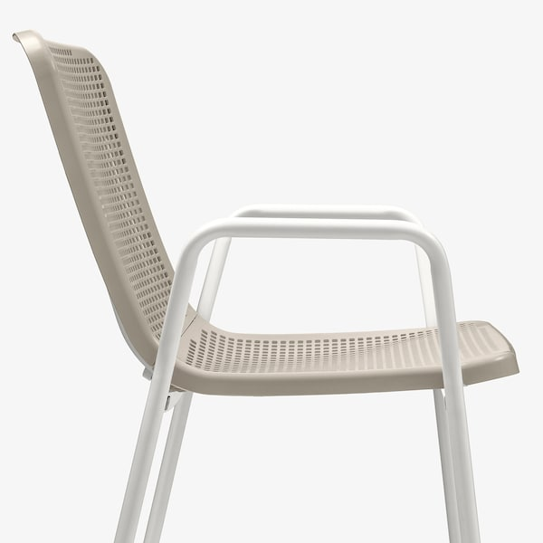 TORPARÖ 토르파뢰 팔걸이의자, 실내외겸용, 화이트/베이지