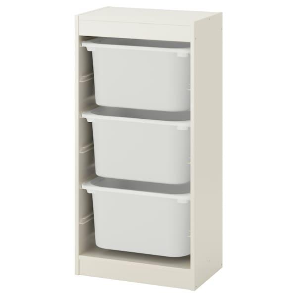 TROFAST 트로파스트 수납콤비네이션+수납함, 화이트/화이트, 46x30x95 cm