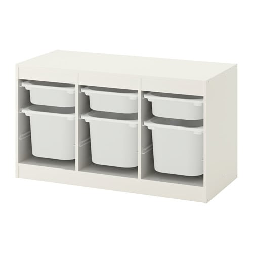 TROFAST 트로파스트 수납콤비네이션+수납함 IKEA 재미있고 튼튼한 수납 시리즈로 장난감을 정리할 수도 있고 의자 등으로 사용할 수도 있습니다. 프레임에 홈이 파여있어서 원하는 대로 수납함과 선반을 설치할 수 있고 언제든지 위치를 바꿀 수도 있습니다.