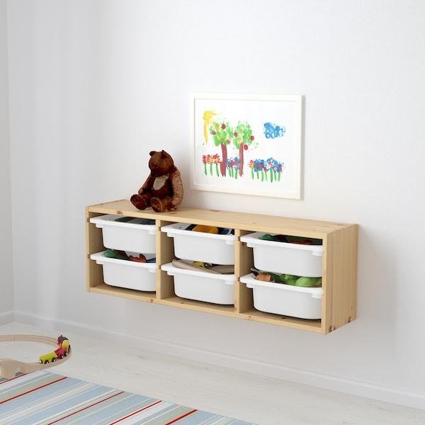 TROFAST 트로파스트 벽수납장, 라이트화이트스테인 소나무/화이트, 93x21x30 cm