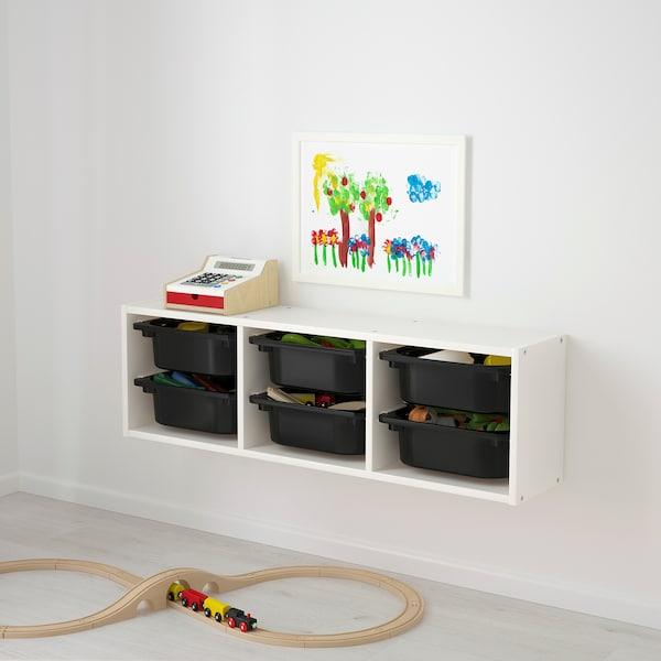 TROFAST 트로파스트 벽수납장, 화이트/블랙, 99x21x30 cm