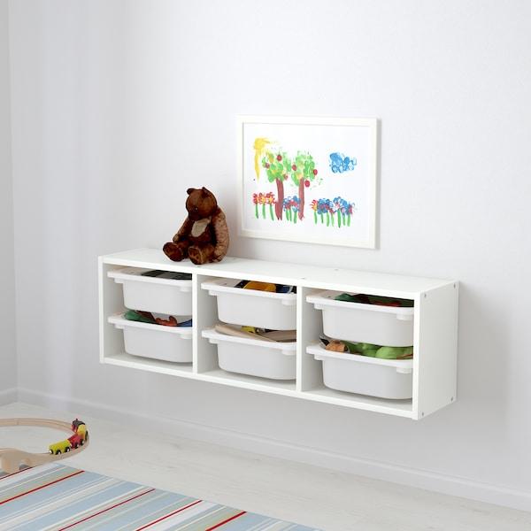 TROFAST 트로파스트 벽수납장, 화이트/화이트, 99x21x30 cm