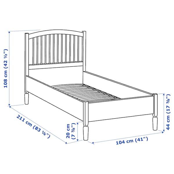 TYSSEDAL 튀세달 침대프레임, 화이트/루뢰위, 90x200 cm