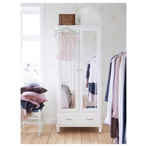 TYSSEDAL 튀세달 옷장, 화이트/거울유리, 88x58x208 cm
