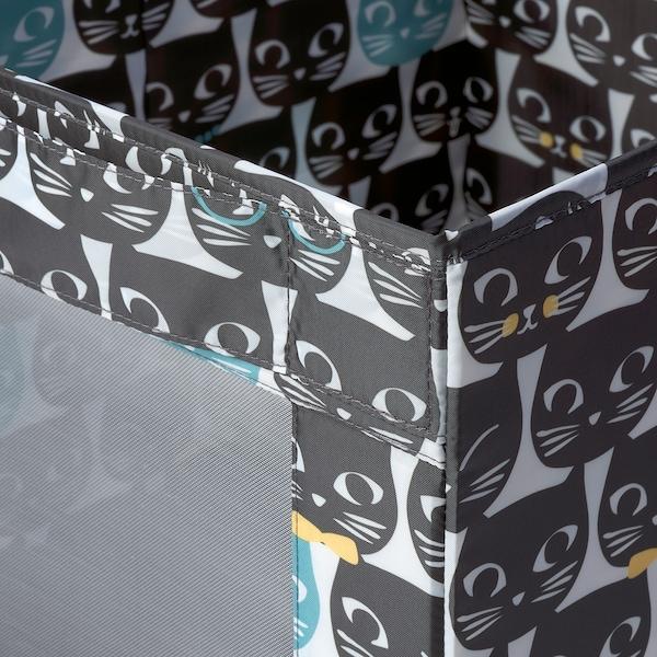 UPPRYMD 우프륌드 수납함, 화이트/블랙 패턴, 38x42x33 cm