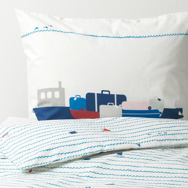 UPPTÅG 웁토그 이불커버+베개커버, 파도/보트 패턴/블루, 150x200/50x80 cm