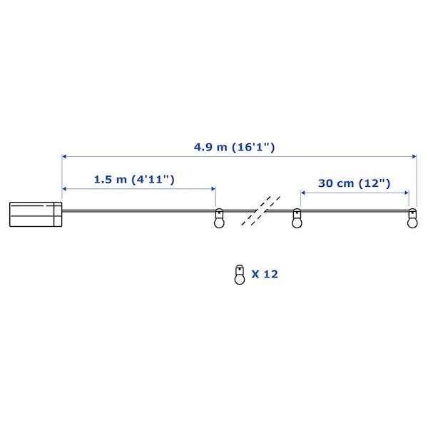 UTSUND 웃순드 LED체인조명12등, 실외용/배터리식 블랙