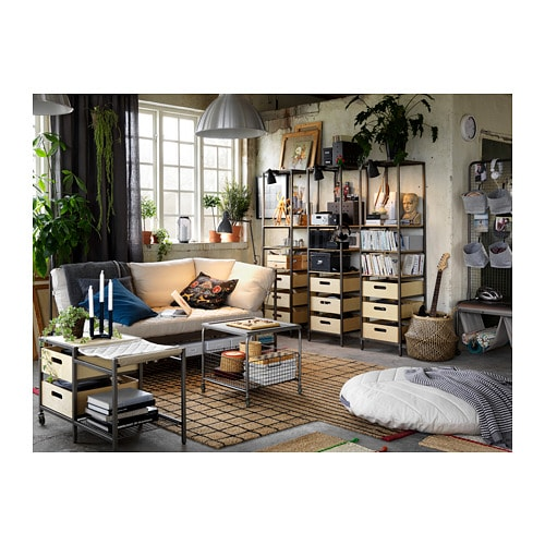 VEBERÖD 베베뢰드 선반유닛 IKEA 상단의 스틸 메시 소재 프레임에 장식품이나 조명을 걸어 나만의 개성을 표현해보세요. 선반유닛은 집안 어디든 쉽게 옮겨 사용할 수 있습니다.