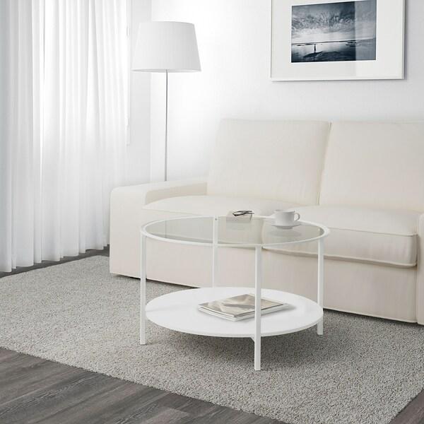 VITTSJÖ 빗셰 커피테이블, 화이트/유리, 75 cm