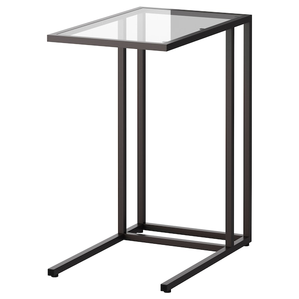 VITTSJÖ 빗셰 노트북스탠드, 블랙브라운/유리, 35x65 cm