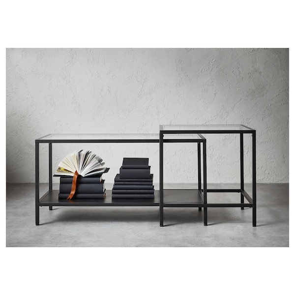 VITTSJÖ 빗셰 네스팅테이블2종, 블랙브라운/유리, 90x50 cm