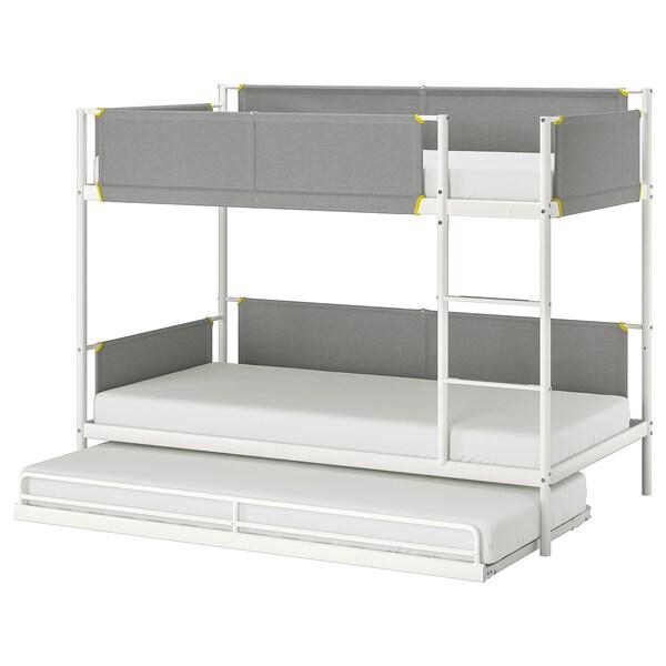 VITVAL 비트발 2층침대프레임+보조침대, 화이트/라이트그레이, 90x200 cm