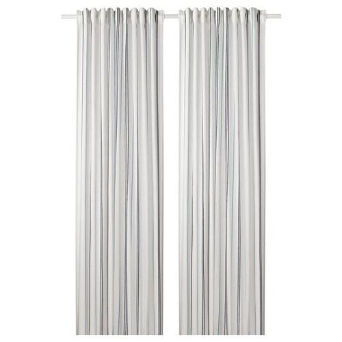ÄDELSPINNARE ستائر، 1 زوج أبيض/مخطط 300 سم 145 سم 1.40 كلغ 4.35 م² 2 قطعة