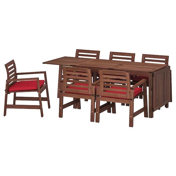 ÄPPLARÖ طاولة+6كراسي بمساند ذراعين،خارجية صباغ بني/Froson/Duvholmen أحمر