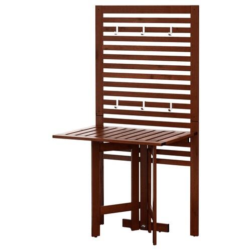 ÄPPLARÖ لوحة حائط+طاولة بأرجل تطوى، خارجية صباغ بني 80 سم 62 سم 158 سم