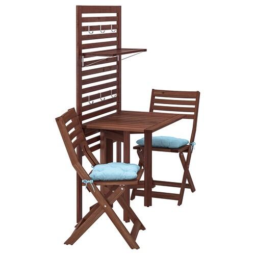 ÄPPLARÖ لوح حائط+طاولة بأرجل تطوى+كرسيين صباغ بني/Kuddarna أزرق فاتح