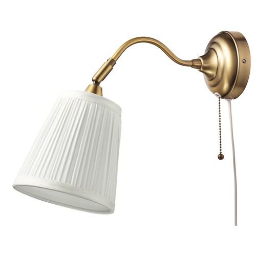 ÅRSTID مصباح حائط نحاس أصفر/أبيض 40 واط 38 سم 16 سم 2.5 م