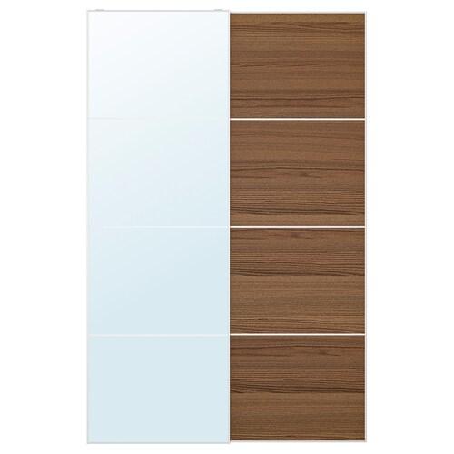 AULI / MEHAMN زوج من أبواب منزلقة زجاج مرايا/مظهر الخشب مصبوغ بني 150 سم 236 سم 8.0 سم 2.3 سم