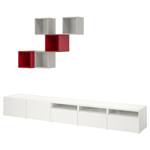 BESTÅ / EKET تشكيلة خزانات لتلفزيون أبيض/رمادي فاتح/أحمر 300 سم 42 سم 210 سم