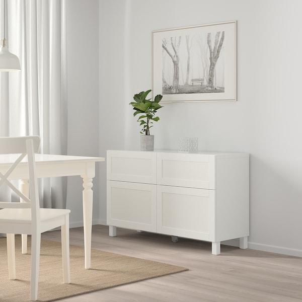 BESTÅ تشكيلة تخزين مع أبواب/ أدراج Hanviken أبيض 120 سم 40 سم 74 سم