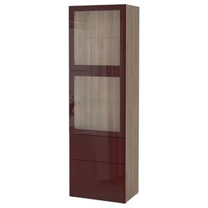 لون: مظهر الجوز مصبوغ رمادي selsviken/أحمر-بني غامق زجاج شفاف.