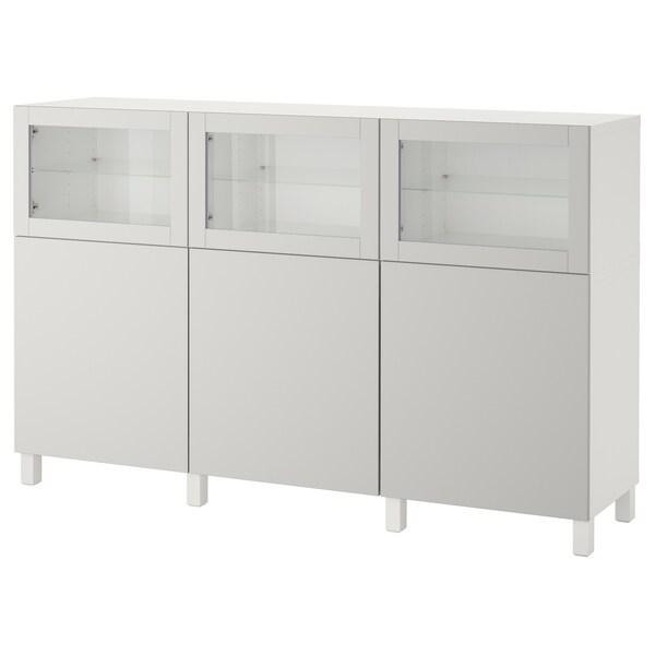 BESTÅ تشكيلة تخزين مع أبواب أبيض Lappviken/رمادي فاتح زجاج شفاف 180 سم 42 سم 112 سم