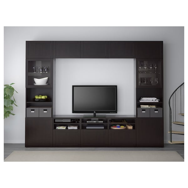 BESTÅ تشكيلة تخزين تلفزيون/أبواب زجاجية Hanviken/Sindvik أسود-بني زجاج شفاف 300 سم 40 سم 230 سم