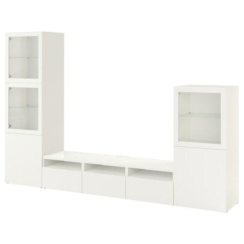 BESTÅ تشكيلة تخزين تلفزيون/أبواب زجاجية أبيض/Lappviken أبيض زجاج شفاف 300 سم 42 سم 193 سم