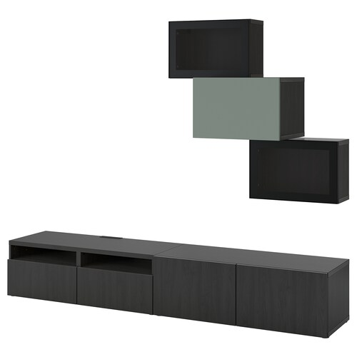 BESTÅ تشكيلة تخزين تلفزيون/أبواب زجاجية أسود-بني Lappviken/Notviken رمادي-أخضر 240 سم 42 سم 190 سم
