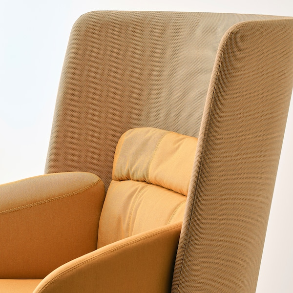 BINGSTA كرسي بذراعين ذو ظهر عالي Vissle أصفر غامق/Kabusa أصفر غامق 70 سم 58 سم 101 سم 45 سم