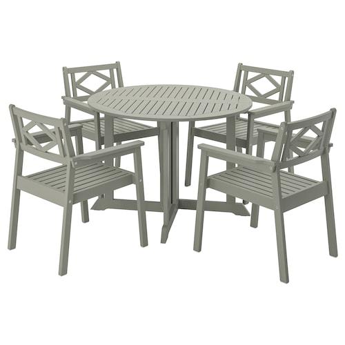 BONDHOLMEN طاولة+4كراسي بمساند ذراعين،خارجية صباغ رمادي