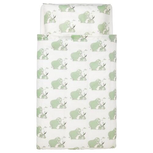 BUSSIG غطاء لحاف/كيس مخدة لسرير طفل أخضر 125 سم 110 سم 55 سم 35 سم