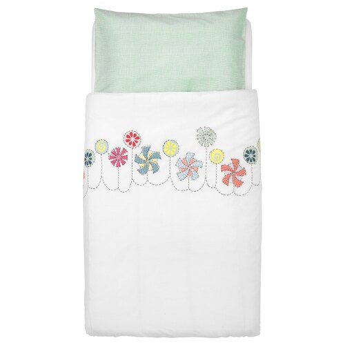 BUSSIG غطاء لحاف/كيس مخدة لسرير طفل عدة ألوان/أخضر 125 سم 110 سم 55 سم 35 سم