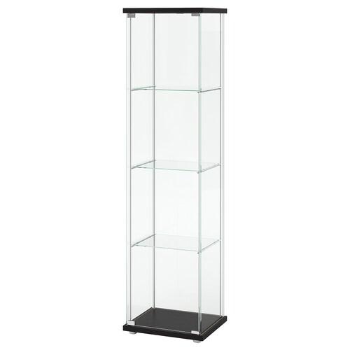 DETOLF خزانة بباب زجاج أسود-بني 43 سم 37 سم 163 سم 3.50 كلغ